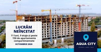 11 luni, 9 etaje si peste 150 de apartamente compartimentate - sau care este stadiul lucrarilor la Aqua City