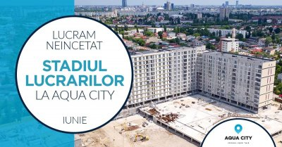 The stage of the works at Aqua City - June 2021: we installed ceramic tiles, faience, doors and elevators