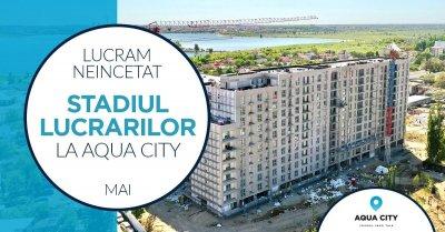 Stadiul lucrarilor la Aqua City – Mai 2021: fatadele Blocului 1 sunt gata in proportie de 50%
