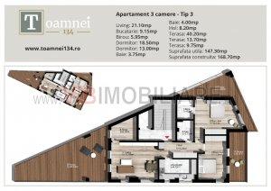 COMISION 0 - Toamnei 134 - penthouse 3 camere cu terase 63 mp