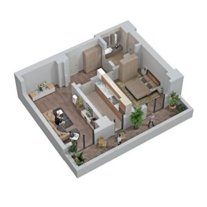 Apartament 2 camere - 60,1 mp - Trafic Greu - Liberty Mall - COMISION 0