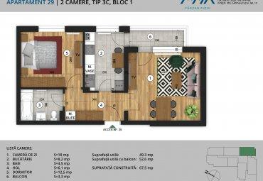 Negru Voda: Apartament 2 cam, confort 1, et.2, Central, langa padure