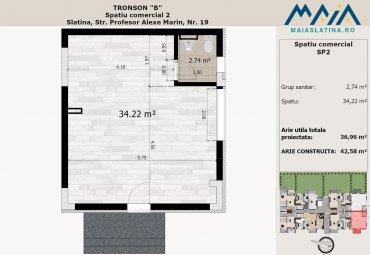 Spatiu comercial | birou 42mp | Imobil nou Slatina