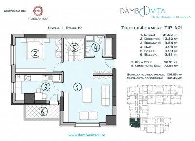 Apartament 4 Camere - DA01 Scara 1