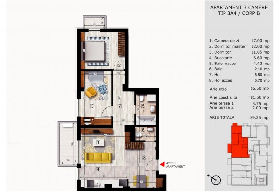 Apartament 3 Camere - 3A4