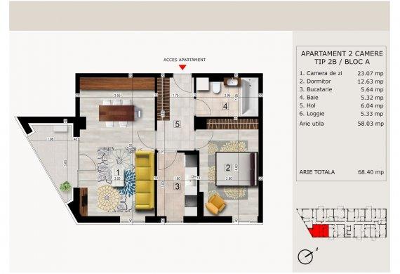 Apartament 2 Camere - 2C TIP 2B