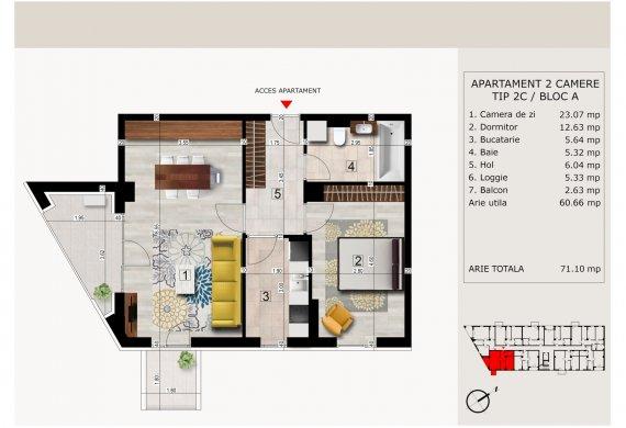 Apartament 2 Camere - 2C TIP 2C