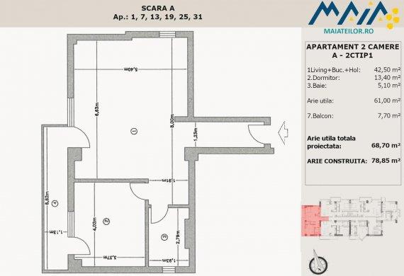 Apartament 2 Camere - A-2CTIP1