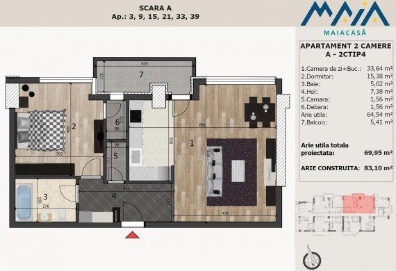 Apartament 2 Camere - A-2CTIP4