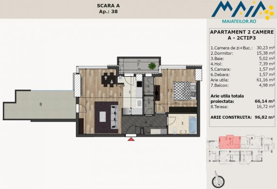 Apartament 2 Camere - A-2CTIP3B