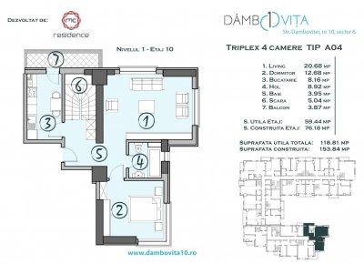 Apartament 4 Camere - DA04 Scara 1
