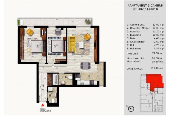 Apartament 3 Camere - 3B2