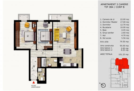 Apartament 3 Camere - 3B4