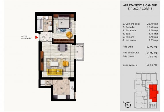 Apartament 2 Camere - 2C2