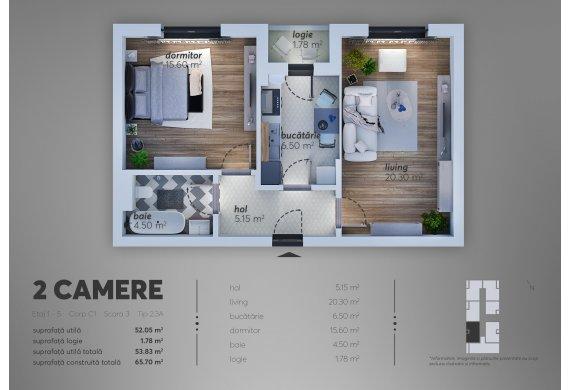 Apartament Studio - 2.3A