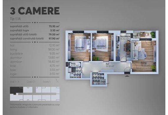 Apartament 3 Camere - 1.1A