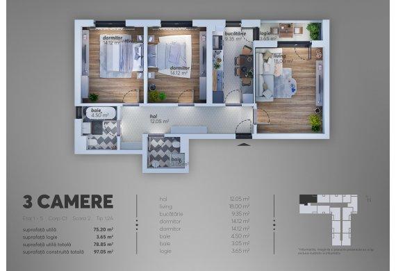 Apartament 3 Camere - 1.2A