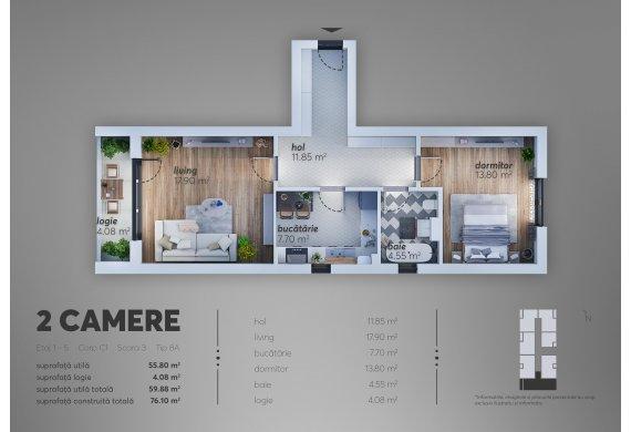 Apartament 2 Camere - 8A