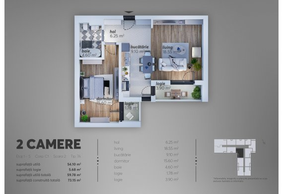2 Camere Apartment - C1.7A