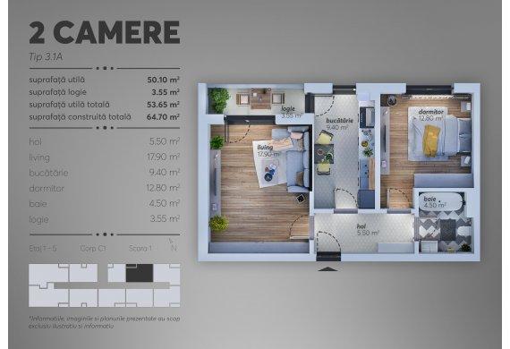 2 Camere Apartment - C1.3.1A