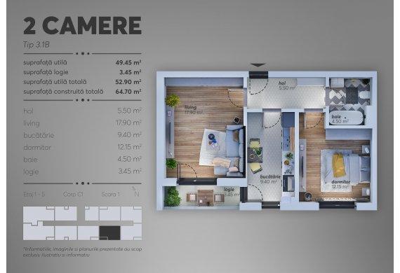 2 Camere Apartment - C1.3.1B