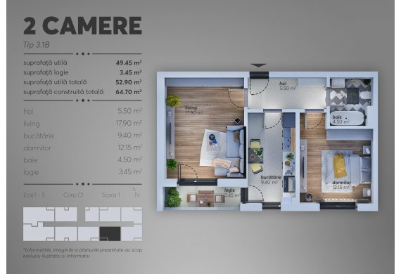Apartament 2 Camere - C1.3.1B
