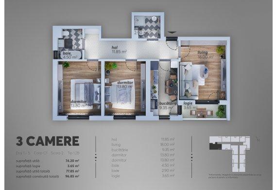 Apartament 3 Camere - 1.2B