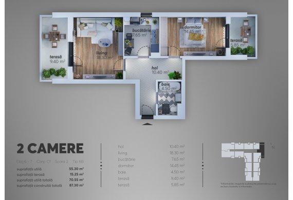 2 Camere Apartment - C1.6B