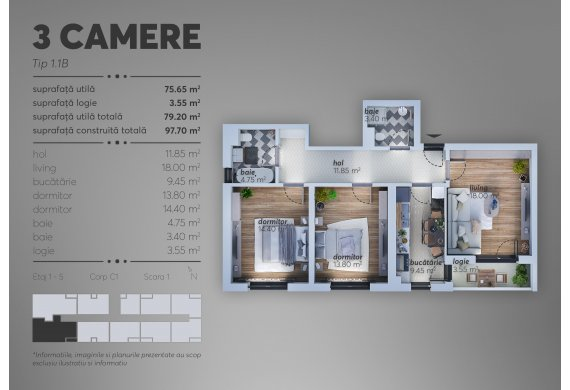 Apartament 3 Camere - 1.1B