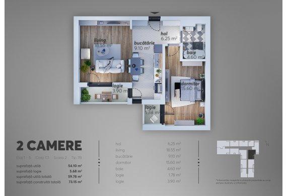 2 Camere Apartment - C1.7B