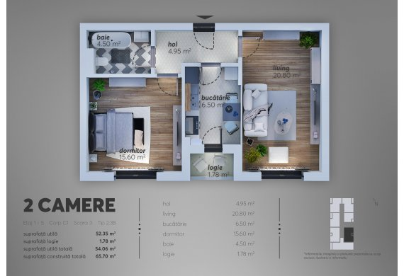 Apartament Studio - 2.3B