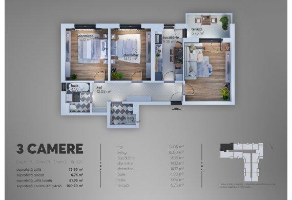 Apartament Studio - 1.2C