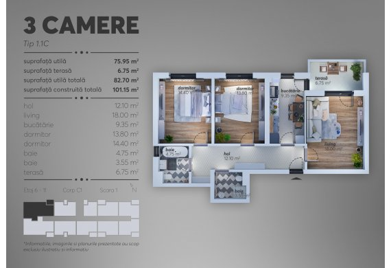 Apartament Studio - 1.1C