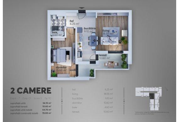 2 Camere Apartment - C1.7C