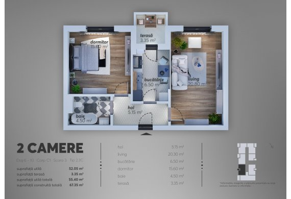 Apartament Studio - 2.3C