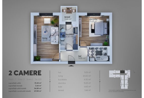 Apartament Studio - 2.2D