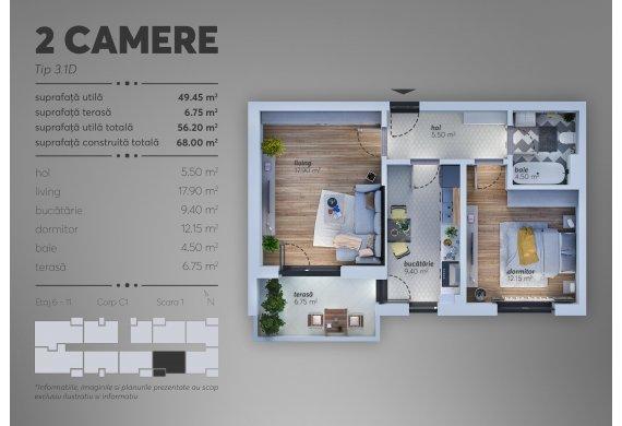 2 Camere Apartment - C1.3.1D