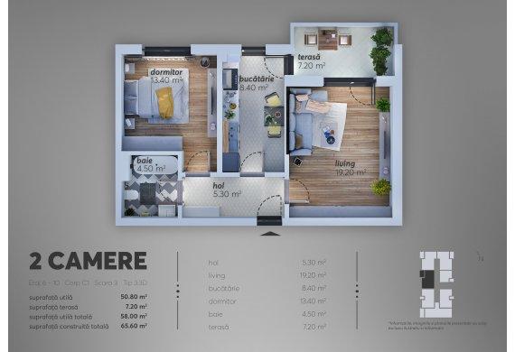 2 Camere Apartment - C1.3.3D