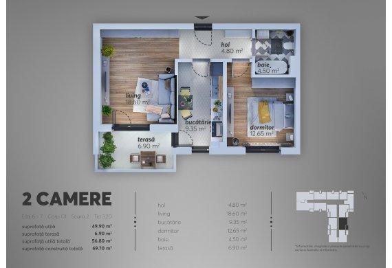 2 Camere Apartment - C1.3.2D