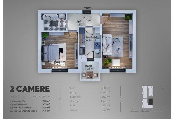 Apartament Studio - 2.3D