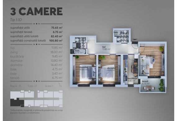 3 Camere Apartment - C1.1.1D