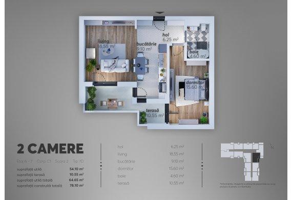 2 Camere Apartment - C1.7D