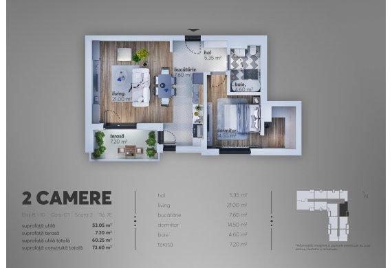 2 Camere Apartment - C1.7E