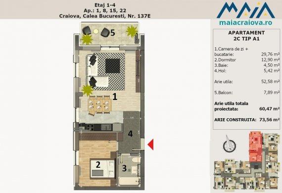 Apartament 2 Camere - 2C TIP A1