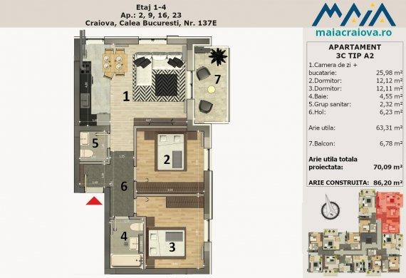 Apartament 3 Camere - 3C TIP A2