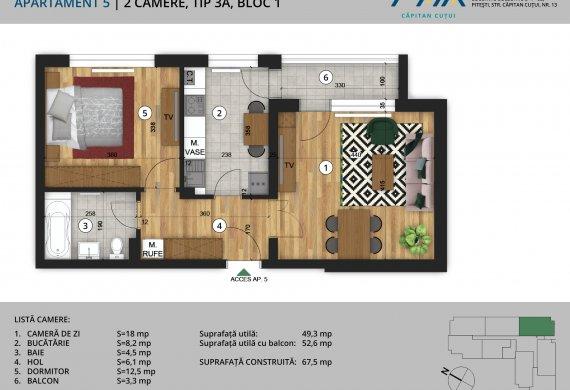 Apartament 2 Camere - 2C Tip 3A