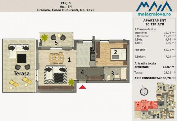 Apartament 2 Camere - 2C TIP A7B