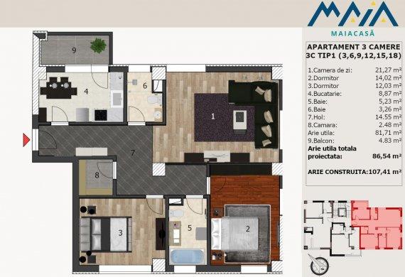 Apartament 3 Camere - 3C TIP1