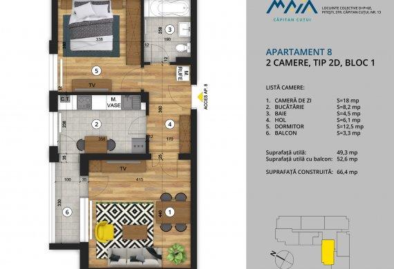 Apartament 2 Camere - 2C Tip 2D