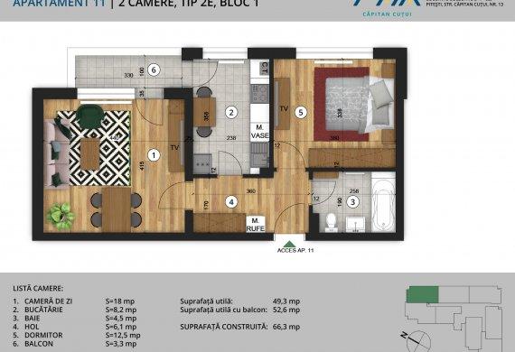 Apartament 2 Camere - 2C Tip 2E